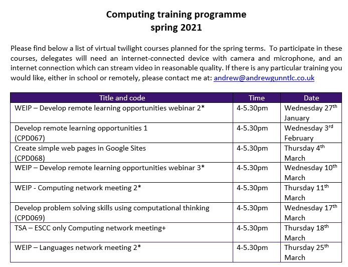 Spring 2021 computing training programme